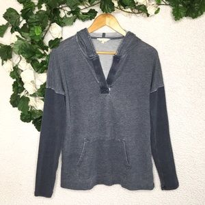 Lucky Brand Two Tone Burnout V-Neck Hoodie Sweater